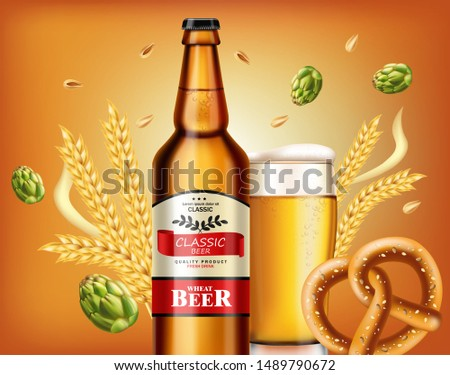 Beer bottle and fresh pretzel Vector realistic. Fresh drink prod Stock photo © frimufilms