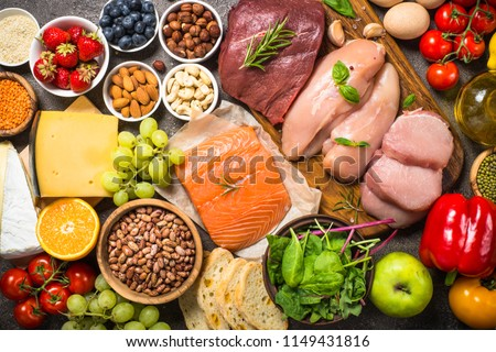 Ketogenic diet food. Set of healthy food low carb healthy lifest Stock photo © Margolana
