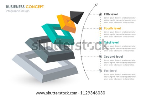 3D isometric infographic template with 5 options or layers.. can be used for workflow layout, diagra Stock photo © kyryloff