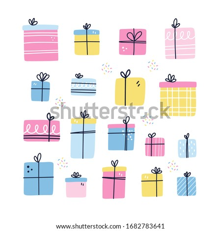 Vector set of different textured gift boxes. Hand drawn elements. Doodle. Freehand style. Unique des Stock photo © user_10144511