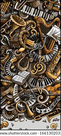 Classic Music hand drawn doodle banner. Cartoon detailed flyer. Stock photo © balabolka