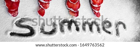 Banner of Beautiful sliced strawberries powdered sugar on black background. Stock photo © Illia