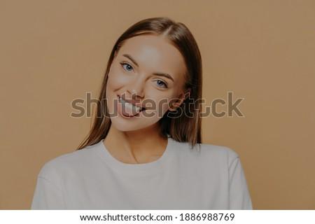 портрет Привлекательная женщина модель языком долго темные волосы Сток-фото © vkstudio