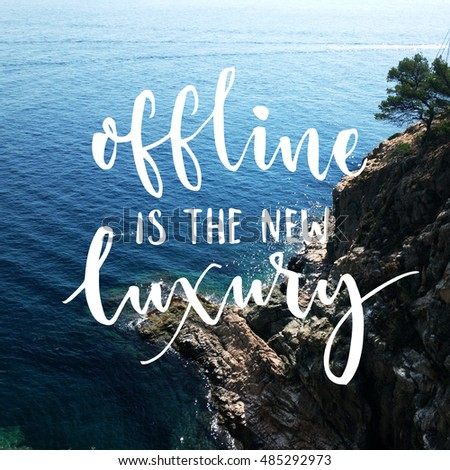 Offline is the new luxury - Lettering inspiring typography poster with text, camping and hiking elem Stock photo © ikopylov