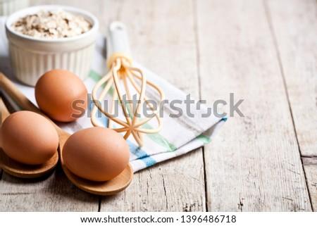Taze tavuk yumurta yulaf seramik Stok fotoğraf © marylooo