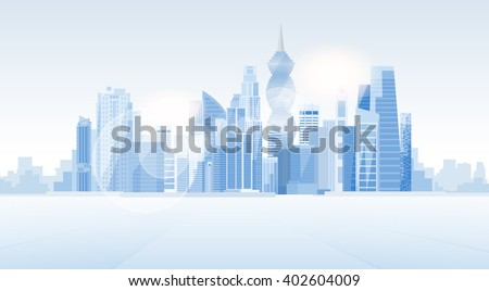 Outline Panama City skyline with blue skyscrapers and copy space Stock photo © ShustrikS