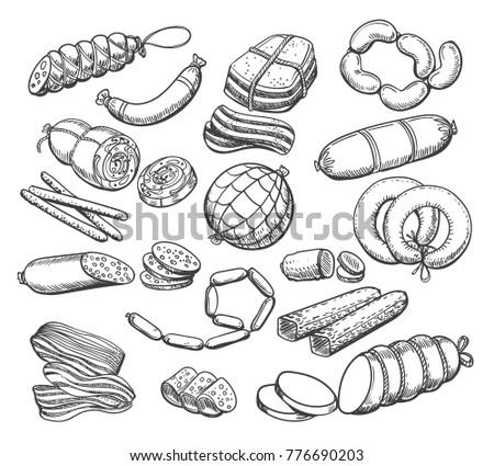 Deli meat slices and Frankfurter sausages  Stock photo © grafvision