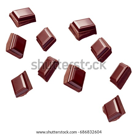 Chocolate bar pieces stack on black background. Sweet food photo Stock photo © marylooo