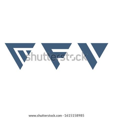 geometric triangles letter F V logo design set. Technology business identity concept. Creative corpo Stock photo © kyryloff