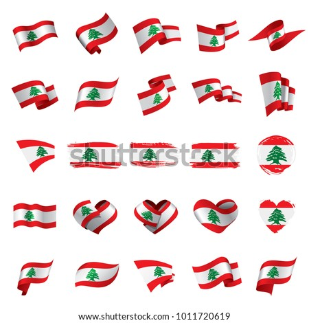 National flag of the Lebanese in the shape of a heart and the inscription I love Lebanese. Vector il Stock photo © butenkow