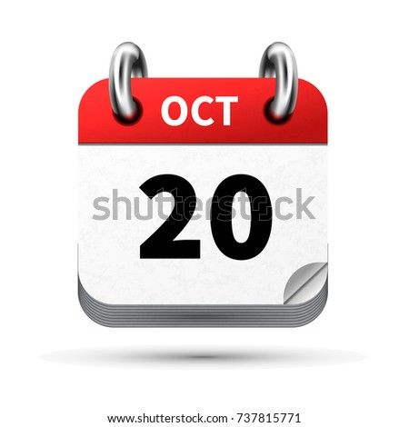 Bright realistic icon of calendar with 20 october date isolated on white Stock photo © evgeny89