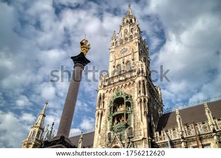 Yeni belediye binası sütun Münih Almanya merkezi Stok fotoğraf © artjazz