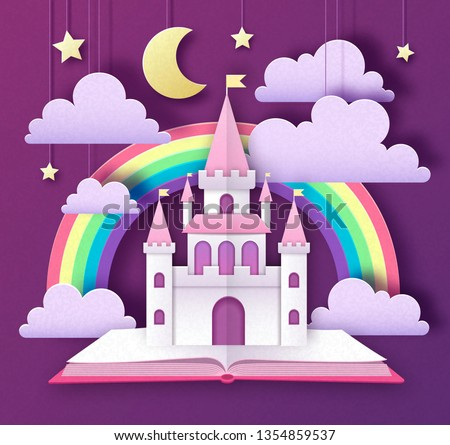 Conto de fadas castelo torre desenho animado estilo arco-íris Foto stock © bluering