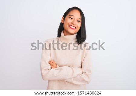 Kép fiatal barna hajú ázsiai nő áll Stock fotó © deandrobot