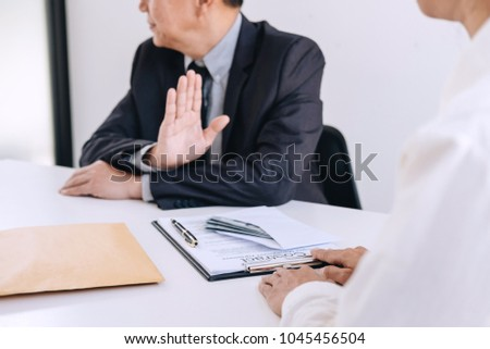 Bribery and corruption concept, senior businessman manager refus Stock photo © Freedomz