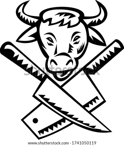Crossed Butcher Knife With Cow Head Front View Black and White Stock photo © patrimonio