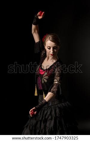 fiatal · nő · tánc · flamenco · szék · szürke · nő - stock fotó © artjazz