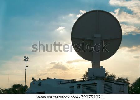 Television News Truck Van, Satellite Dish Roof, Parked on Street Stock photo © Qingwa