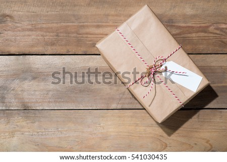 blank tag and old ropes over wooden background space for your t stock photo © inxti