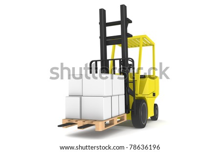 Forklift with Pallet, Front view. Part of a Blue and yellow Warehouse series.   Stock photo © JohanH
