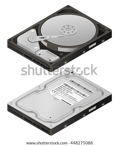 Illustration of Hard disk drive HDD isolated on white background Stock photo © shutswis