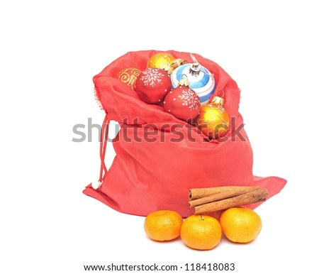 Stock photo: tangerine, cinnamon and chrismas balls isolated on white backgro