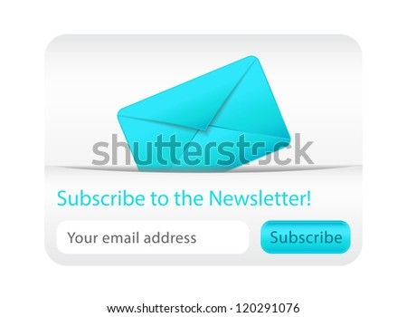 Light subcribe to newsletter website element with blue envelope Stock photo © liliwhite
