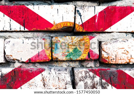 Grunge bandeira Flórida parede de tijolos pintado americano Foto stock © vepar5