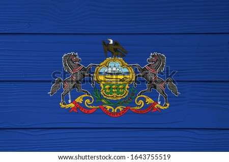 flag of US state of pennsylvania on grunge wooden texture precis Stock photo © vepar5