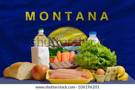 Complete Waved Flag Of American State Of Montana For Background Foto stock © vepar5