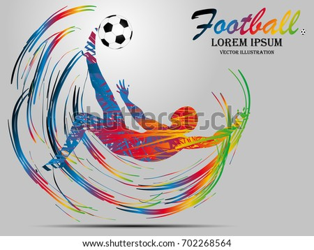 Poster Soccer football player. Colored Vector illustration for d Stock photo © leonido