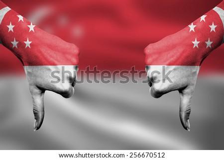 シンガポール フラグ 親指 ダウン ジェスチャー 失敗 ストックフォト © vepar5