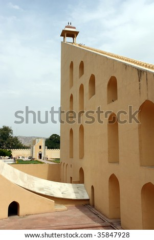 city palace from the walls of jantar mantar observatory in jaipur stock photo © faabi