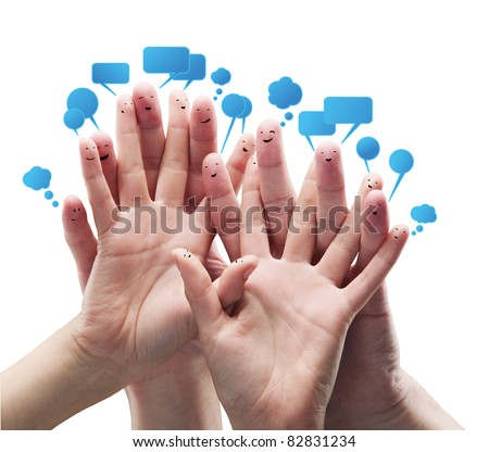 happy group of finger smileys with social chat sign and speech t stock photo © oly5