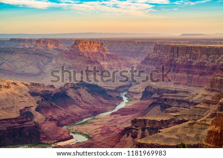 sunset view from desert view point into the grand canyon south stock photo © meinzahn