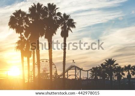 Ferris Wheel and Santa Monica Pier at Twilight in Santa Monica,  Stock photo © tobkatrina