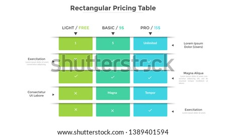 comparison table for 3 products in light flat design with blue elements foto d'archivio © liliwhite