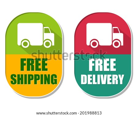 free shipping and delivery with truck sign, two elliptical label Stock photo © marinini