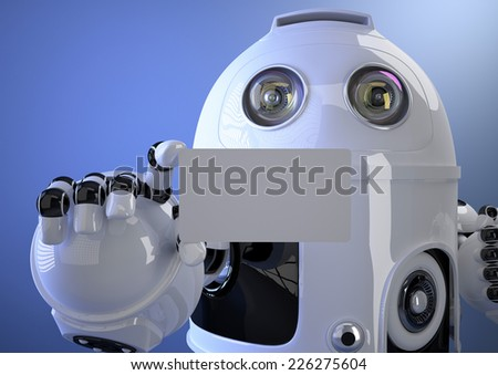 robot shows a business card contains clipping path of entire sc stock photo © kirill_m