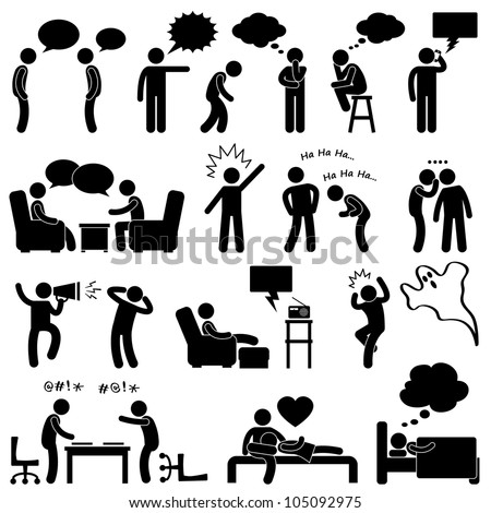 Man People Thinking Talking Conversation Icon Symbol Sign Pictog Stock photo © kiddaikiddee
