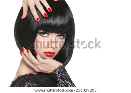 Makeup. Manicured nails. Beauty girl portrait. Back short bob ha Stock photo © Victoria_Andreas