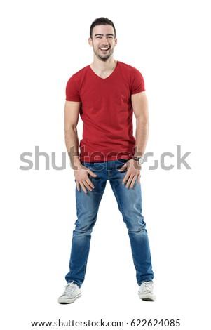 Gelukkig jonge man toevallig kleding permanente witte Stockfoto © deandrobot