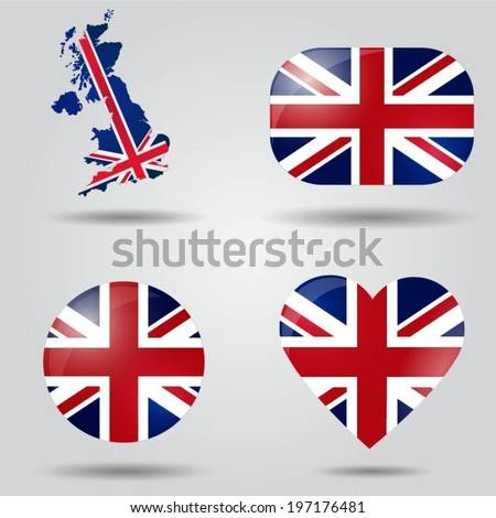 Map on flag button - United Kingdom of Great Britain and Norther Stock photo © Istanbul2009