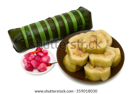 traditional Vietnamese food - banh tet ( cylindric glutinous ri Stock photo © xuanhuongho