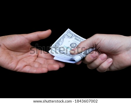 hand and one dollar isolated on black backgrounds 2 Stock photo © Paha_L