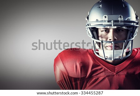 composite image of close up portrait of confident american footb stock photo © wavebreak_media