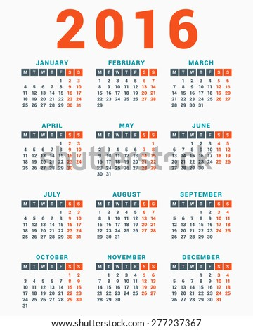 calendar for 2016 on white background week starts monday simple vector template stock photo © rommeo79