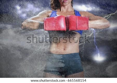 composite image of midsection of boxer flexing stance foto stock © wavebreak_media