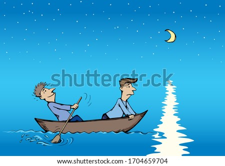 Small wooden fisherman sail boat with two men in the blue windy ocean front of a mountain Stock photo © attiarndt