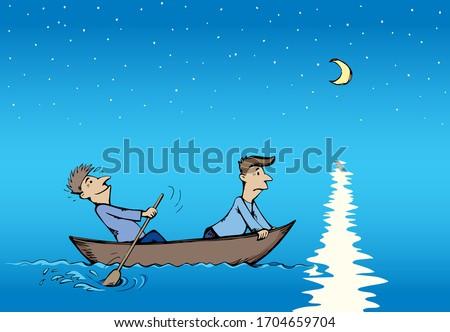 小 · 木製 · 漁師 · 帆 · ボート · 二人の男性 - ストックフォト © attiarndt